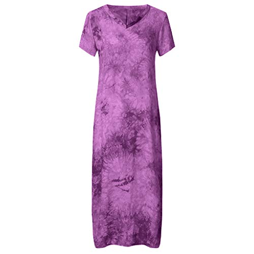 - Togethor Women Maxi Dress Striped Long Dresses Casual Loose Kaftan Oversized Round Neck Sundress Purple