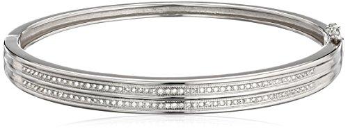 Silver Diamond Bangle Bracelet (1/2 Cttw, I-J Color, I2-I3 Clarity)