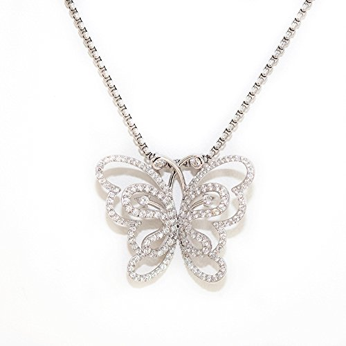 femme Papillon or blanc 18k 750/1000 collier