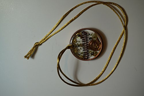 (Orgone Energy Necklace - Green Olive Stone, Gold 24k, Quartz Crystal and Copper- Money Magnet)