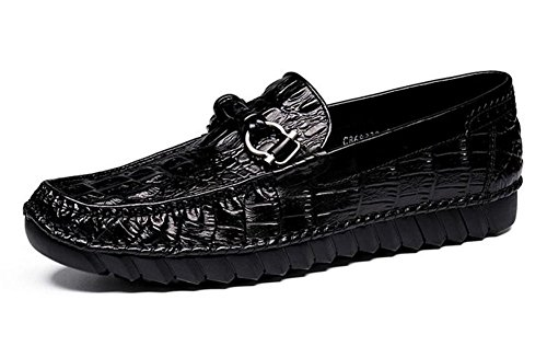 Men Slip-On Oxford Loafer Shoes Men Shoes Crocodile Pattern Layer Of Leather Summer Breathable Casual Shoes ( Color : Black , Size : 39 ) by GLSHI