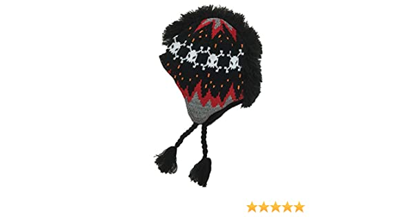 211c19e471c Amazon.com  Aquarius Boys Black   Red Skull Print Mohawk Hat Fringe  Peruvian Style Trapper  Clothing