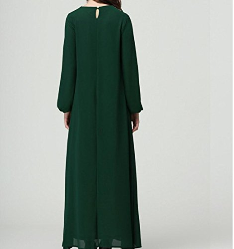Line Stitching Solid A Comfy Dress Muslim Oversized Green Flared Lace Women SIwqqx587