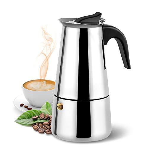 Stovetop Espresso Maker,Moka pot, Espresso Machine,Stainless Steel Espresso Machinefor 6 cups (300 ml),italian coffee maker Espresso and Coffee Maker for for Gas or Electric Ceramic Stovetop