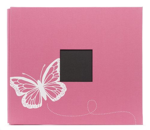 American Crafts Patterned Post Bound Scrapbooking Album, Pink Butterfly Screen Printed, 12 by 12-Inch