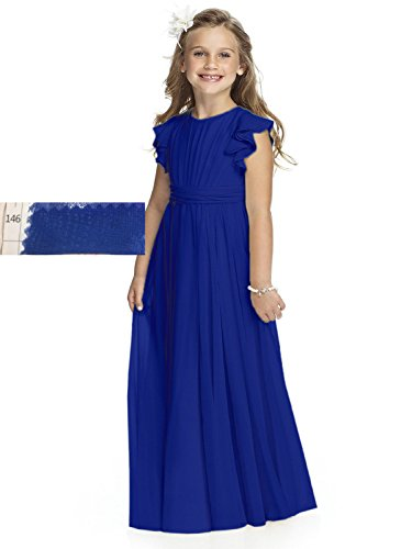 Abaowedding Fancy Chiffon Flower Girl Dresses Flutter Sleeves First Communion Dress(Size 10,Royal Blue) -