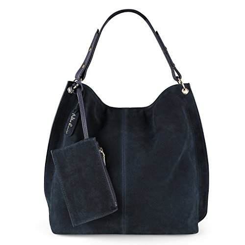 Nico Louise Women Genuine Suede Leather Large Hobo Purse Shoulder Bag (Navy Blue) Navy Leather Bag