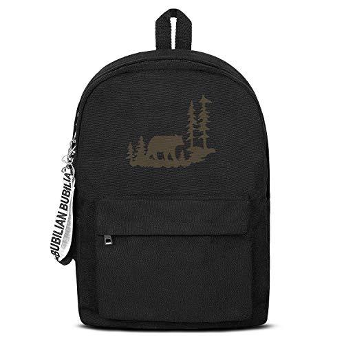Woodland Bear Unisex Canvas Backpack Funny Satchel Waterproof Backpack for Girls Boys