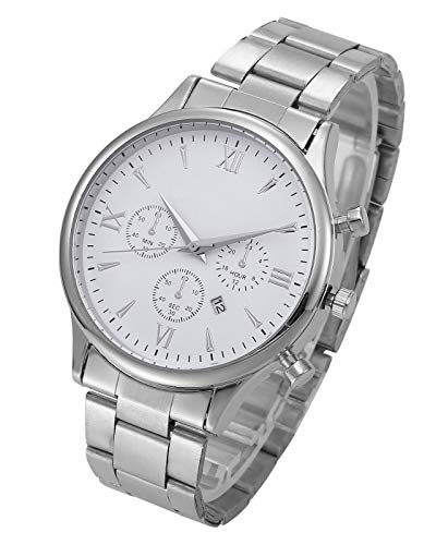 Top Plaza Mens Stainless Steel Wrist Watch Classic Silver Analog Quartz Business Watch with Calendar - White ()