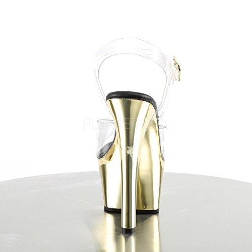 Pleaser Damen Aspire-608 Offene Sandalen Clr/Gold Chrome
