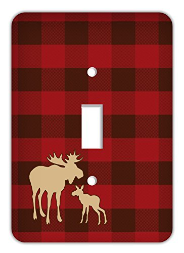 - Drama Decor Rustic Plaid Trendy Printed Single Switchplate Cover, Red