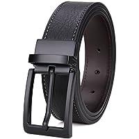 Matasuha Men's Reversible Belt Dress Leather Belts For Men Rotated Buckle Black