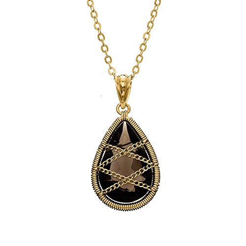 14K Yellow, Rose Gold, or Rhodium Plated Sterling Silver Hand Wrapped Teardrop Gemstone Necklace