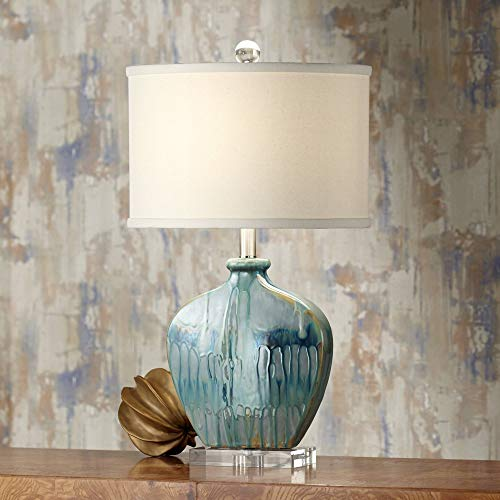 Blue Ceramic Glass - Mia Coastal Table Lamp Blue Drip Ceramic Off White Oval Shade for Living Room Family Bedroom Bedside Nightstand - Possini Euro Design