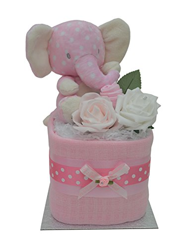 Cute Pink Elephant Square Mini New Baby Girls Nappy Cake Baby Shower Gift Packaged to Perfection MSPOTEL