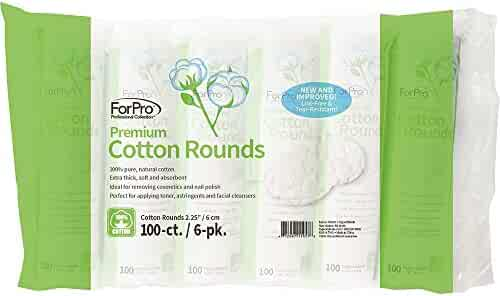 """ForPro Premium Cotton Rounds, 100% Cotton, Non-Tearing, Lint-Free, for Cosmetic, Nail, and Personal Use, 2.25"""", 600-Count (Pack of 6-100 Cotton Rounds)"""