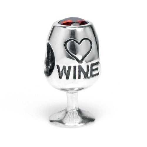 .925 Sterling Silver Red Wine Lover Glass Cup Heart Love Cubic Zirconia Bead For European Charm Bracelets
