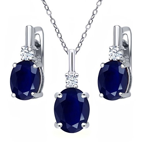 7.58 Ct Oval Blue Sapphire White Topaz 925 Sterling Silver Pendant Earrings Set by Gem Stone King