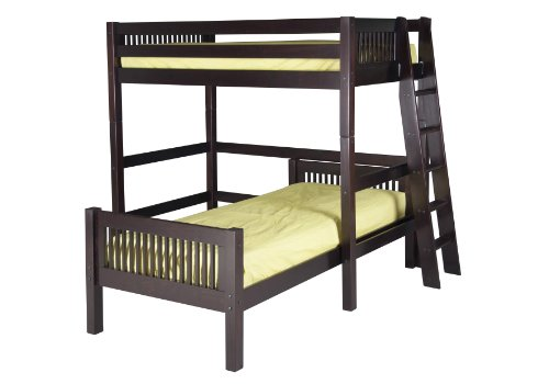 Camaflexi Mission Style Solid Wood L-Shaped Loft Bed, Twin-Over-Twin, End Angled Ladder, Cappuccino (L-shaped Loft)