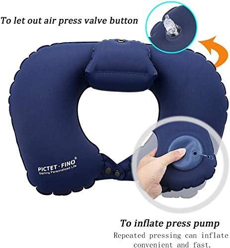 Ultralight Comfortable Travel Neck Pillow Inflatable Neck Pillow Neck Support Pillow Waterproof Pillow Neck Pillow for Camping Airplane Car Train Office Travel Pillow Etmury Travel Pillow Dark Blue