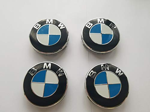 (USA SELLER (Set of 4) BMW Wheel Center Caps Hub Caps 68mm Standard Fit For all Models With Stock BMW Wheels Blue & White Color)