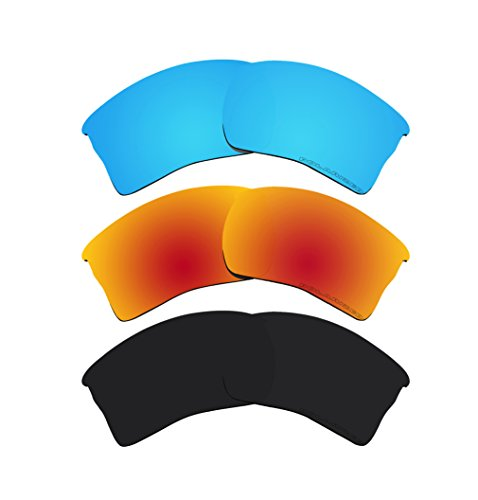 3 Pairs BVANQ Polarized Lenses Replacement for Oakley Quarter Jacket OO9200 Fire Red & Black & - Oakley Jacket Polarized Lenses Quarter