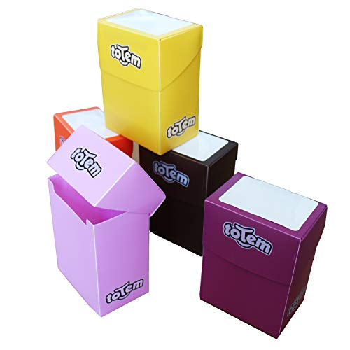 Totem World 5 Premium Deck Boxes in Assorted Bright Colors - Fits Pokemon, Yu-Gi-Oh, and Magic The Gathering Cards - Perfect Party Favors Or Kids Birthday Gifts - Orange, Yellow, Purple, Pink, Brown (Best Yugioh Deck In The World)