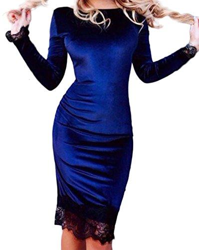 Aderente Vestito Patchwork Manica Domple Donne In Elegante Girocollo Royal Velluto In Lunga Pizzo Blu qETZFtZ