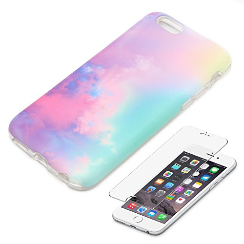 Pastel Gradient iPhone 6 6S Protective case Ucolor Abstract Cloud for iPhone 6 6S Dual Layer Protection Tough Case with [Slim Tempered Glass Screen Protector] (Cloud)
