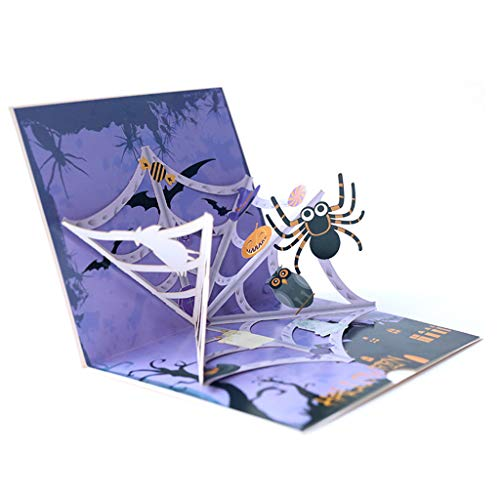 Tamquer Scary Spooky 3D Halloween Greeting Card for Kids Halloween Themed Party Halloween Pop Up Card Pumpkin Skull Ghost Witch Bat Card Popup Greeting Card for Halloween Themed Party from Tamquer