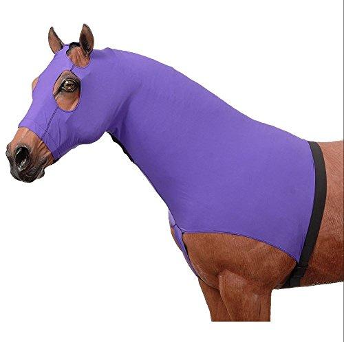 Slip On Horse Slinky Lycra Hood Fleece Lined Nose Band Purple, Medium (Horse Hoods)