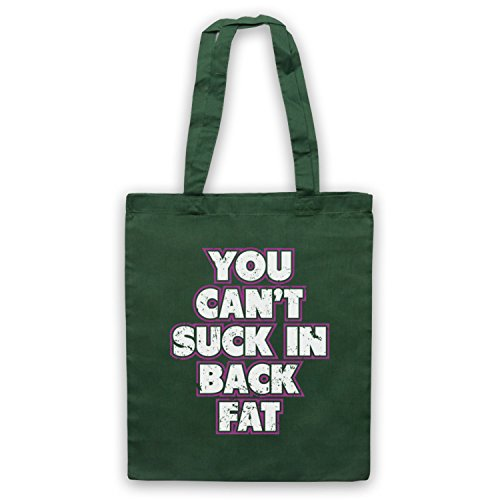 My Icon Art & Clothing You Can't Suck In Back Fat Bodybuilding Workout Slogan Bolso Verde Oscuro