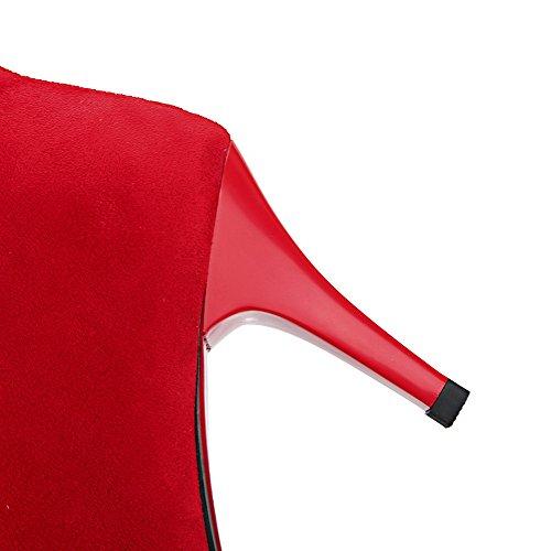 Metal Tobillo Rojo Botas en aguja Punta Mujeres de Cremallera AllhqFashion Puntera con Tacón BqPwZ75x