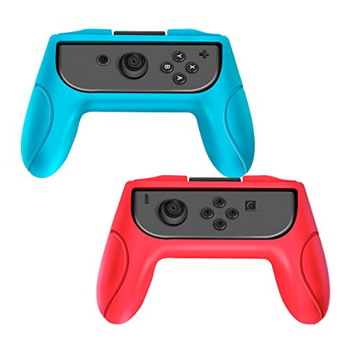 Joy Con Grip, Pack of 2 Wear-resistant Joy-con Handle for Nintendo Switch (Red - Blue) (Switch Resistant)