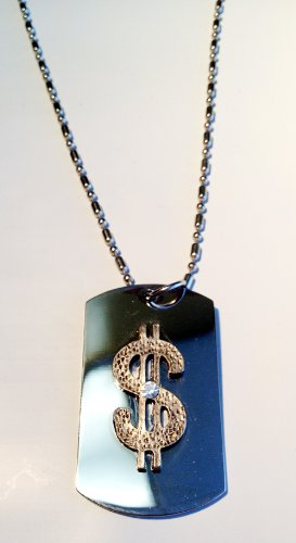 Bling Dollar Sign Crystal Pewter Emblem Logo Symbols - Military Dog Tag Luggage Tag Key Chain Metal Chain Necklace ()