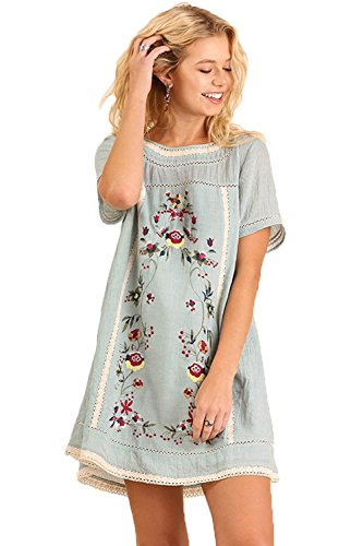Style Bohemian Embroidered Short Sleeve Poly Cotton Dress Or Tunic (S, Blue) ()