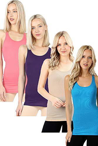 Zenana Outfitters 4 Pack Womens Basic Ribbed Racerback Tank Top - Coral/Purple/Beige/Blue - Small