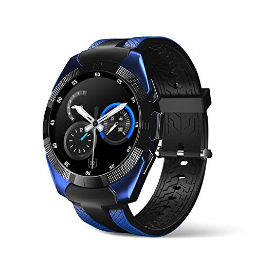 Smart Watch,Wonbo Bluetooth Touchscreen Sports Smartwatch, Music Player & Fitness Heart Rate Tracker Sleeping Monitor,Make Call/SNS Notification Watch Compatible with iOS and Android (Bright Blue)