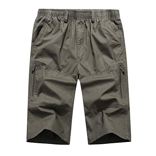 Summer Casual Beach Sport Pants Men's Pure Color Loose Multi-Pocket Calf-Length Pants Army Green ()