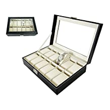 Efosh ® 12 Slots Vintage Style Watch / Jewelry Display Storage Box Case Organizer Showcase, Glass Top for Easy Viewing with Lock & Key (12 Grid) Black with Beige/Cream Interior