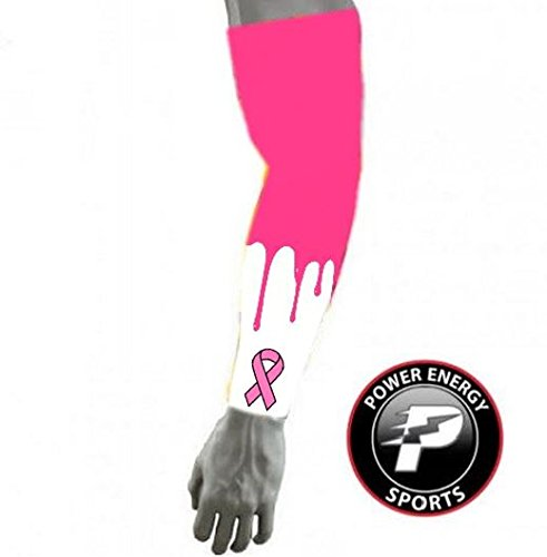 Cancer Awareness Baseball - Power Energy Sports Pink Ribbon Breast Cancer Awareness Baseball Football Compression Arm Sleeve YL
