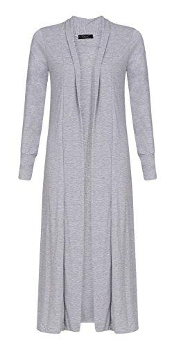 Longues Fashion Cardigan Ami Petit Ouvert Long Manches Maxi Gris Plaine Femmes Fast dtp1xqp