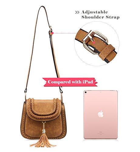 Travel Bag Clovers Vintage Shopping Crossbody Womens Sling Satchel Tassel Saddle Bag Bag Tom Brown Shoulder qR7YwdqE