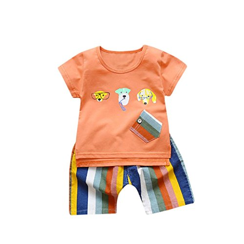 Shorts T-shirt Rainbow (Moonker Toddler Baby Boy Cartoon Dog Printed T Shirt Tops Rainbow Stripes Shorts Outfits Clothes Set (Orange, 6-12 Months))