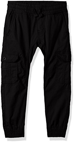 Adjustable Waist Cargo Pants (Southpole Little Boys' Washed Stretch Ripstop Cargo Jogger Pants, Black, Small)