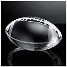 Waltz&F Clear Crystal American Football Paperweight with Base Stand Glass Sport Ball Collectible Figurines