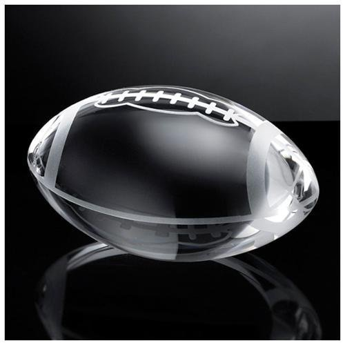 (Waltz&F Clear Crystal American Football Paperweight with Base Stand Glass Sport Ball Collectible Figurines )