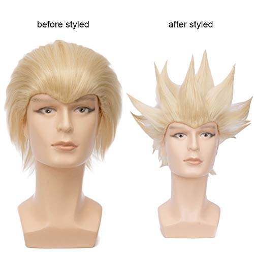 BERON men's fashion wig for Halloween Cosplay Wig Dress Up Synthetic Wigs (Light Blonde)