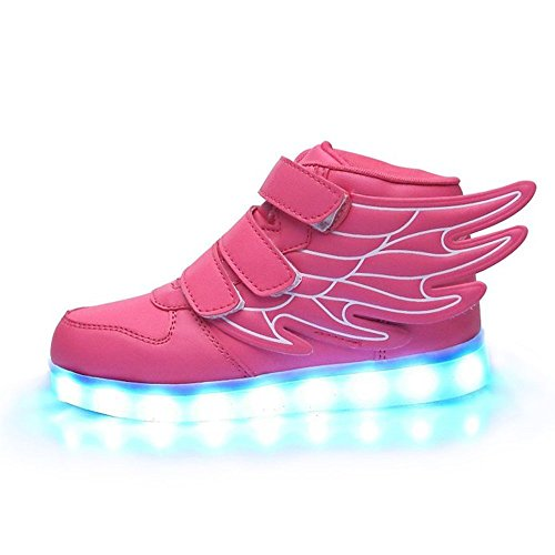 Toddler Little/Big Kid Boy Girl USB Flashing LED Light Shoes Sneaker Pink 8.5 M US Toddler