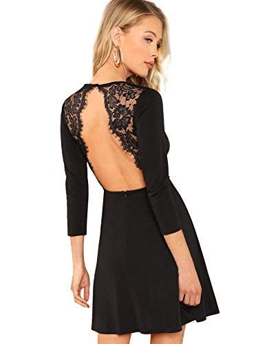 ong Sleeve Backless Lace Applique Cocktail Party Mini Dress Medium Black ()